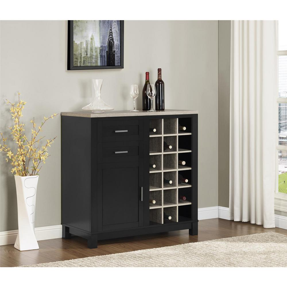 Black Home Bar Furniture: Altra Furniture Carver Black 18-Bottle Bar Cabinet