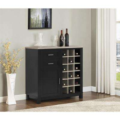 Carver Black 18-Bottle Bar Cabinet