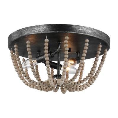 Oglesby 14 in. W 3-Light Weathered Gray Flush Mount with Washed Pine Beads