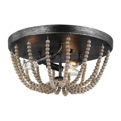 Oglesby 14 in. 3-Light Weathered Gray Flush Mount with Washed Pine Beads and LED Bulbs