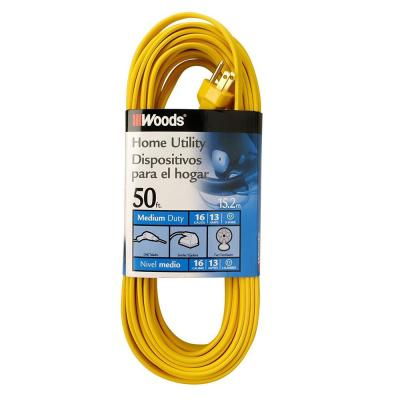50 ft. 16/3 SPT-2  Flat Indoor Medium-Duty Utility Extension Cord, Yellow