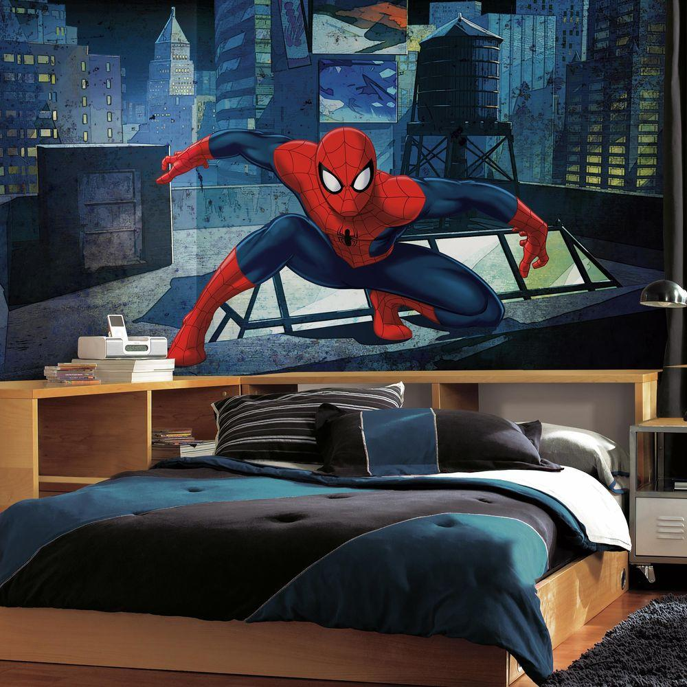 Roommates 72 in w x 126 in h ultimate spiderman cityscape xl h ultimate spiderman cityscape xl chair rail 7 panel prepasted wall mural jl1406m the home depot amipublicfo Choice Image