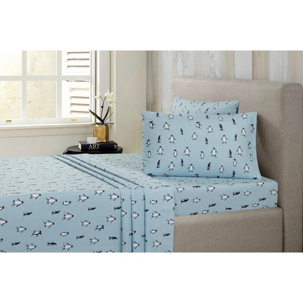 Penguin Cotton-Flannel Blue Full Sheet Set