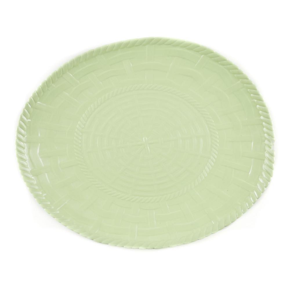 Woven Lime Green Melamine Oval Platter