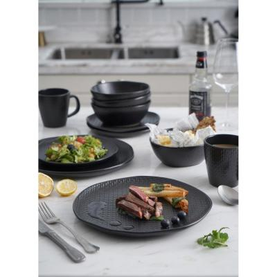 32-Piece Casual Black Stoneware Dinnerware Set (Set for 8)