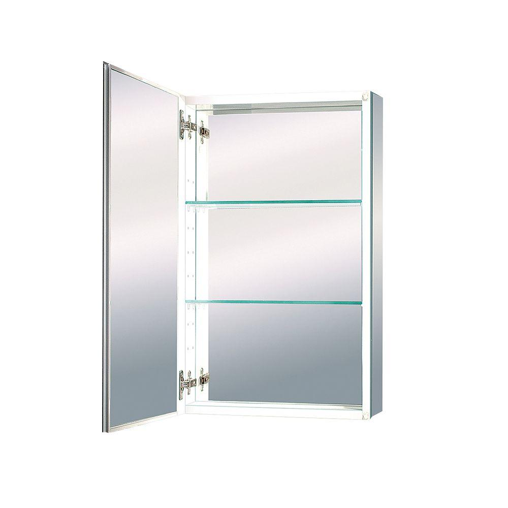 MAAX Evolution 15 in. x 26 in. Mirrored Recessed or Surface Mount Medicine Cabinet in White