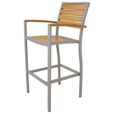 Basics Textured Silver All-Weather Aluminum/Plastic Outdoor Bar Arm Chair in Plastique Slats