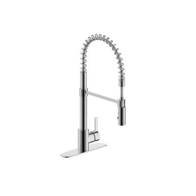 Palais Royal Single Handle 1 or 3 Hole Pull-Out Sprayer Kitchen Spring Coil Faucet in Chrome