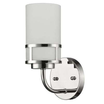 Alexis 1-Light Polished Nickel Sconce with Etched Glass Shade