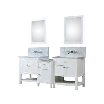 Premium Hybrid Bath Makeup 83 in. W Vanity in White with Marble Vanity Top in White with White Basin and Mirrors