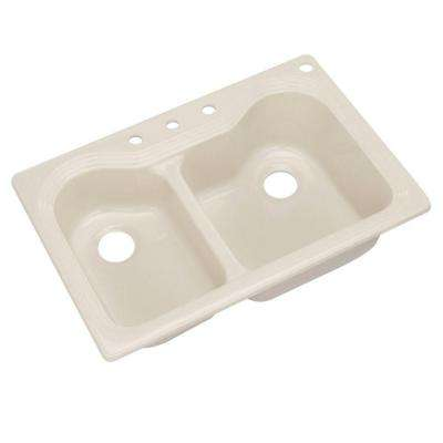 breckenridge drop in acrylic 33 in  4 hole double bowl kitchen sink in beige   acrylic   kitchen sinks   kitchen   the home depot  rh   homedepot com