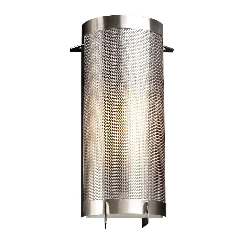 PLC Lighting 1-Light Satin Nickel with Acid Frost Glass Sconce