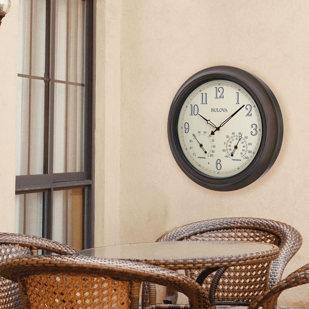 Bulova 18 inch H x 18 inch W Outdoor Wall Clock with 2-Step Metal Case by Bulova
