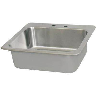 4 in. O.C. 20 in. x 16 in. x 8 in. Deck Mount in Sink Faucet Holes Deep Drawn Stainless Steel Drop Deep Bowl with Drain