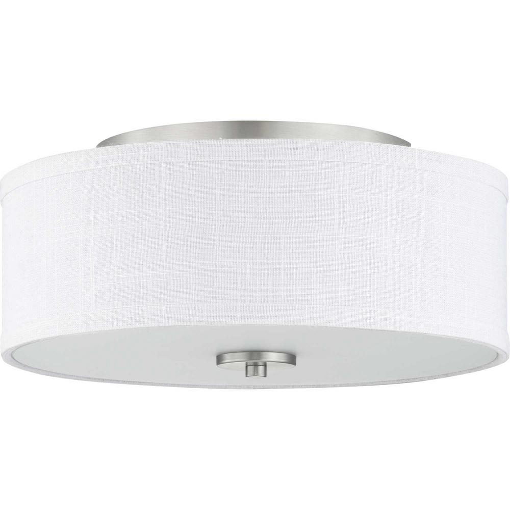 5c1db7e0578 Progress Lighting. Inspire Collection 2-Light Brushed Nickel Flush Mount