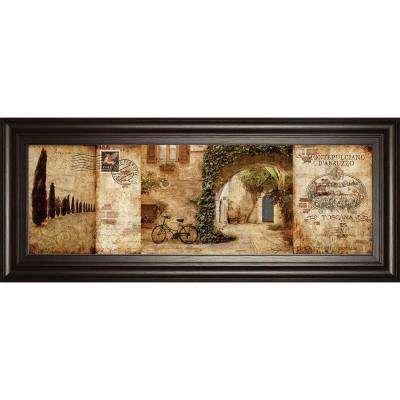 """18 in. x 42 in. """"Tuscan Courtyard"""" by Keith Mallet Framed Printed Wall Art"""