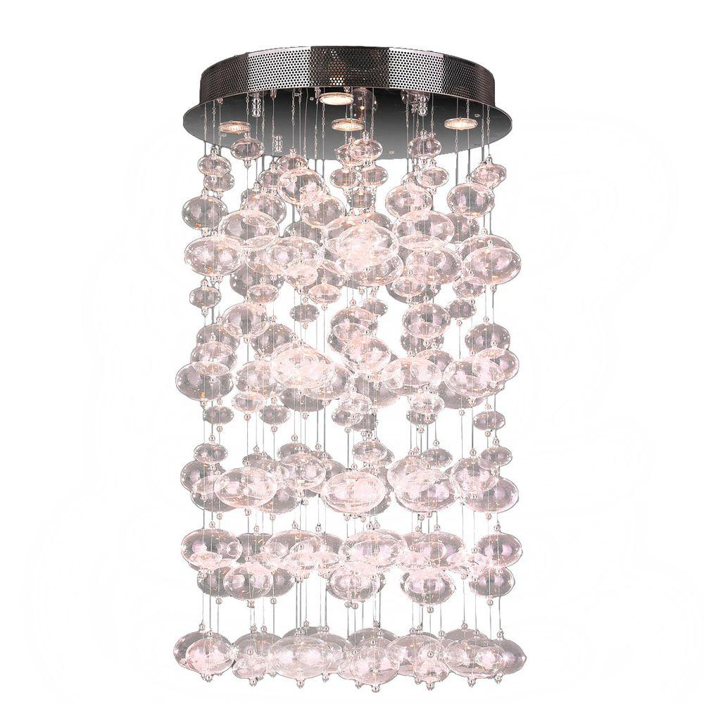 Effervescence 7-Light Clear Bubble Blown Glass Ceiling Light