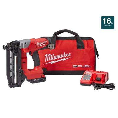 M18 FUEL 18-Volt Lithium-Ion Brushless Cordless 16-Gauge Straight Finish Nailer Kit w/ (1) 2.0Ah Battery, Charger & Bag