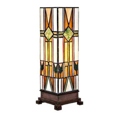 14 in. Multi-Colored Stained Glass Mission Style Hurricane Lamp