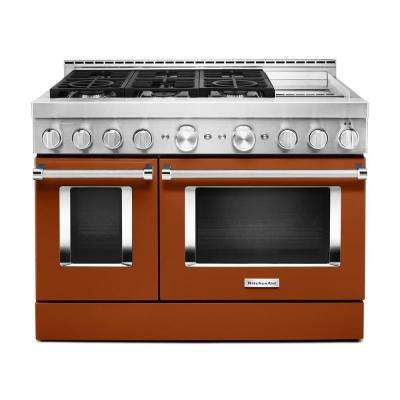48 in. 6.3 cu. ft. Smart Double Oven Commercial-Style Gas Range with Griddle and True Convection in Scorched Orange