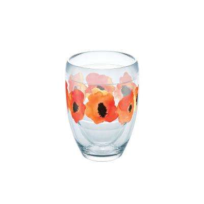 Watercolor Poppy 9 oz. Double-Walled Tritan Stemless Wine Glass