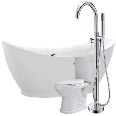 Reginald 68 in. Acrylic Flatbottom Non-Whirlpool Bathtub in White with Kros Faucet and Talos 1.6 GPF Toilet