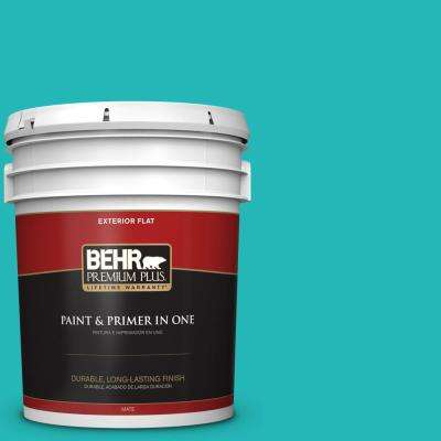 5 gal. #MQ4-21 Caicos Turquoise Flat Exterior Paint and Primer in One