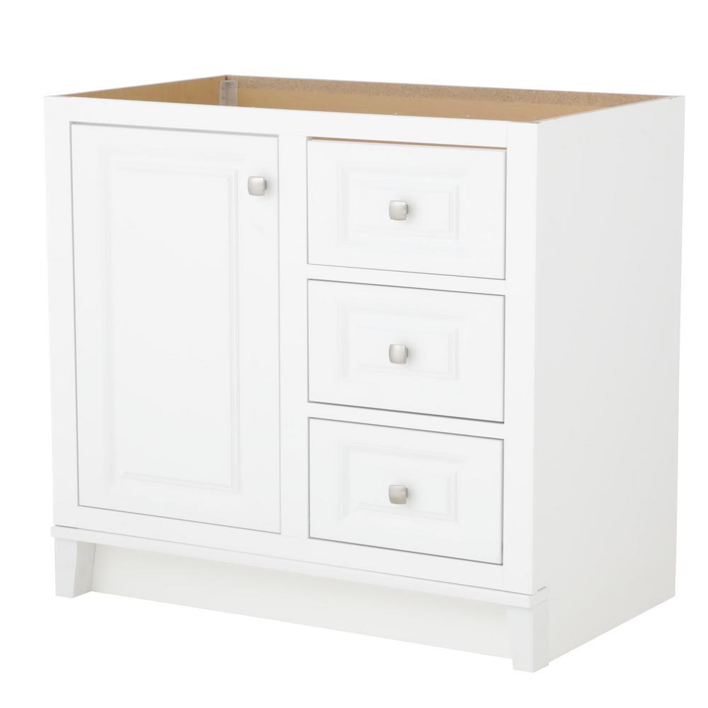 GLACIER BAY Kinghurst 36 in. W x 21 in. D x 33.5 in. H Bath Vanity Cabinet Only in White