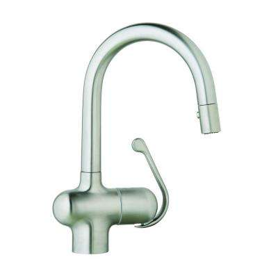Ladylux Pro Single-Handle Pull-Out Sprayer Kitchen Faucet in Stainless Steel