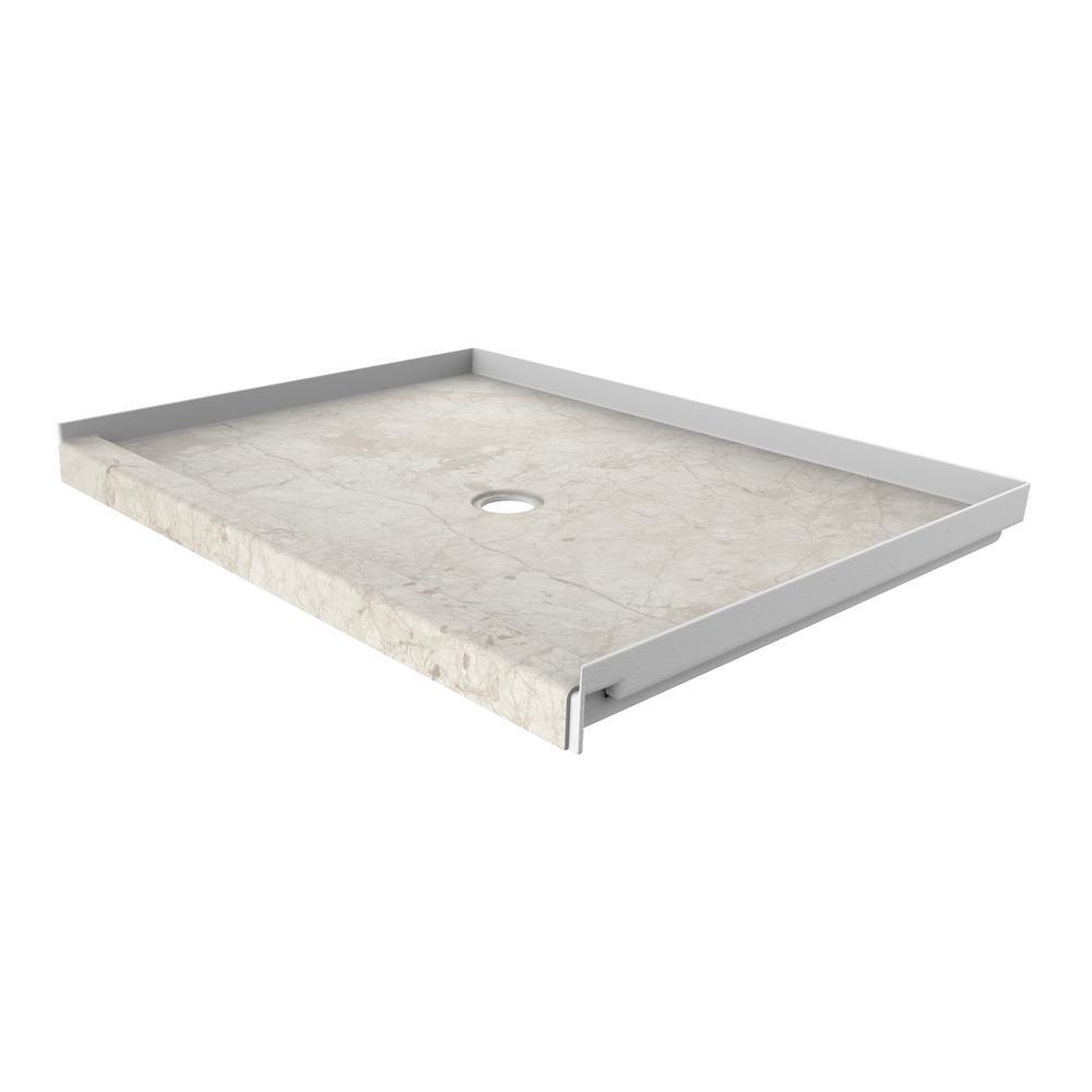 48 in. x 34 in. Single Threshold Shower Base with Center Drain in Botticino Cream