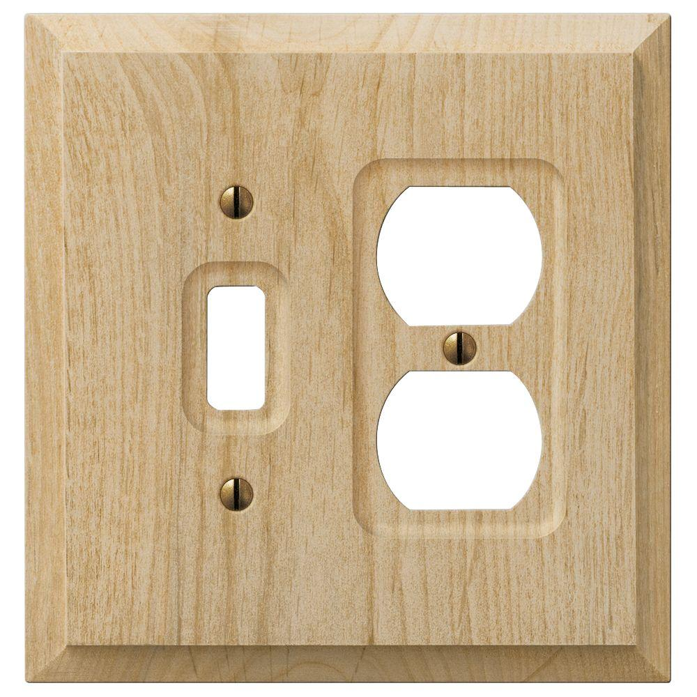 Hampton Bay Cabin 1 Toggle 1 Duplex Combination Wall Plate - Unfinished Alder Wood