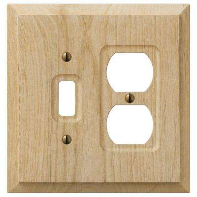 cabin 1 toggle 1 duplex combination wall plate unfinished alder wood