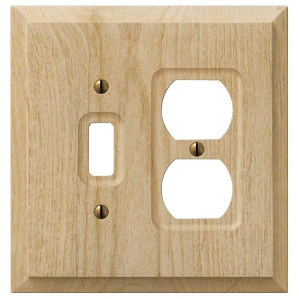 Cabin 2 Gang 1-Toggle and 1-Duplex Wood Wall Plate - Unfinished