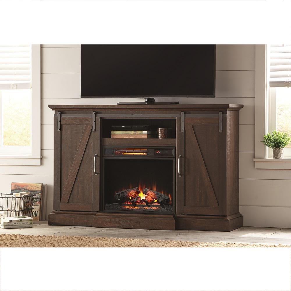 Home Decorators Collection Chestnut Hill 56 In Tv Stand Electric Fireplace With Sliding Barn Door Rustic Brown