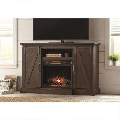 Chestnut Hill 56 in. TV Stand Electric Fireplace with Sliding Barn Door in Rustic Brown