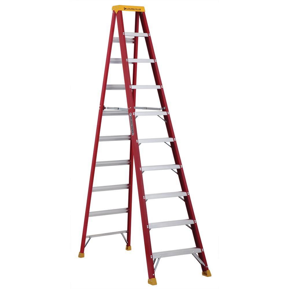 Louisville 10 ft. Fiberglass Step Ladder with 300 lbs. Lo...