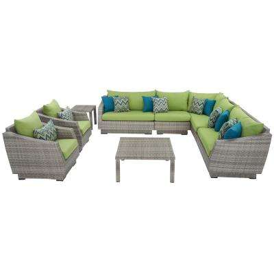 Cannes 9-Piece Patio Corner Sectional and Club Chair Seating Group with Ginkgo Green Cushions