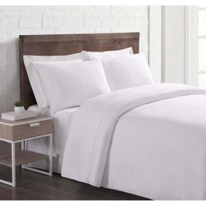Flax Linen 4-Piece White Solid 300 Thread Count California King Sheet Set