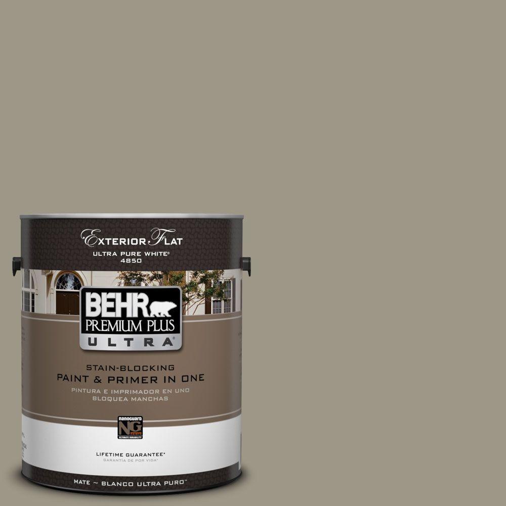BEHR Premium Plus Ultra 1-Gal. #UL190-5 Dusty Olive Flat Exterior Paint