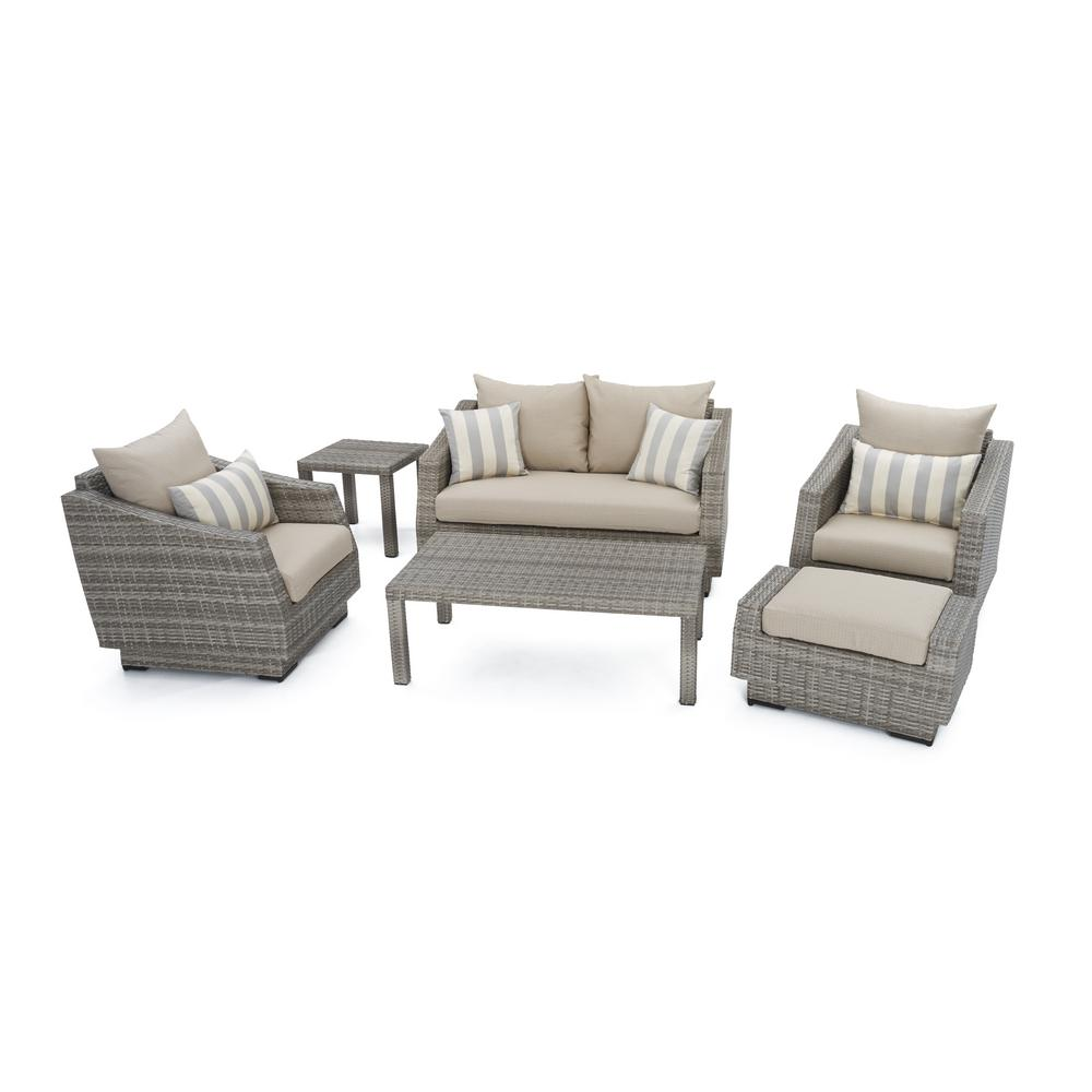 RST Brands Cannes 6-Piece Patio Seating Set with Slate Grey Cushions