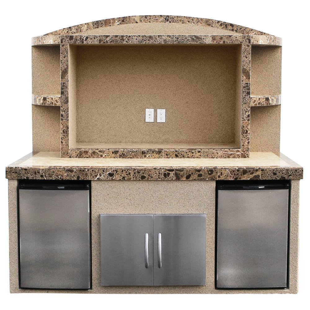 Cal Flame Paradise Stucco and Tile Outdoor Entertainment Center Serving Bar with Refrigerators