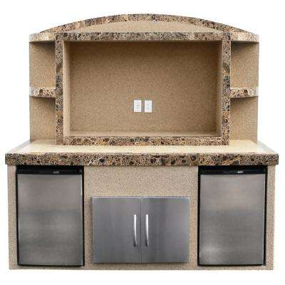 Paradise Stucco and Tile Outdoor Entertainment Center Serving Bar with Refrigerators
