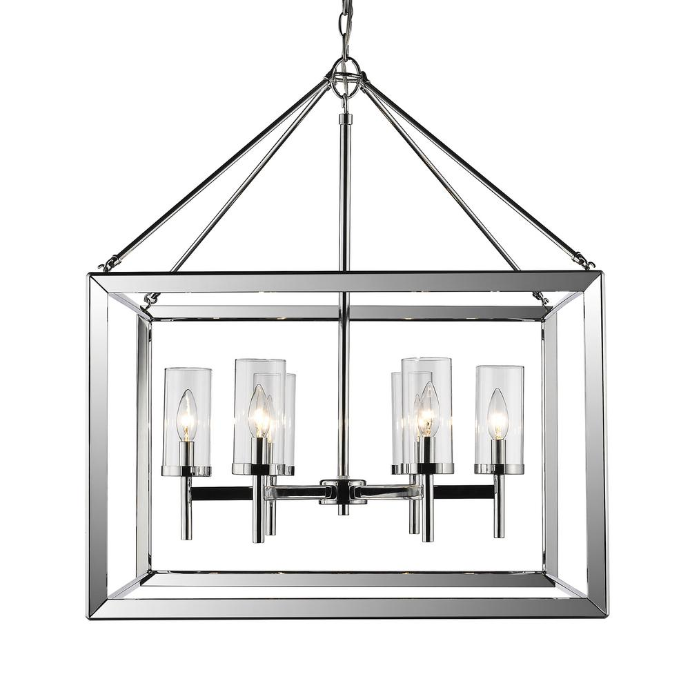 Golden Lighting Smyth 6-Light Chrome Chandelier With Clear