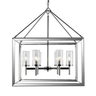 Smyth 6-Light Chrome Chandelier with Clear Glass Shade