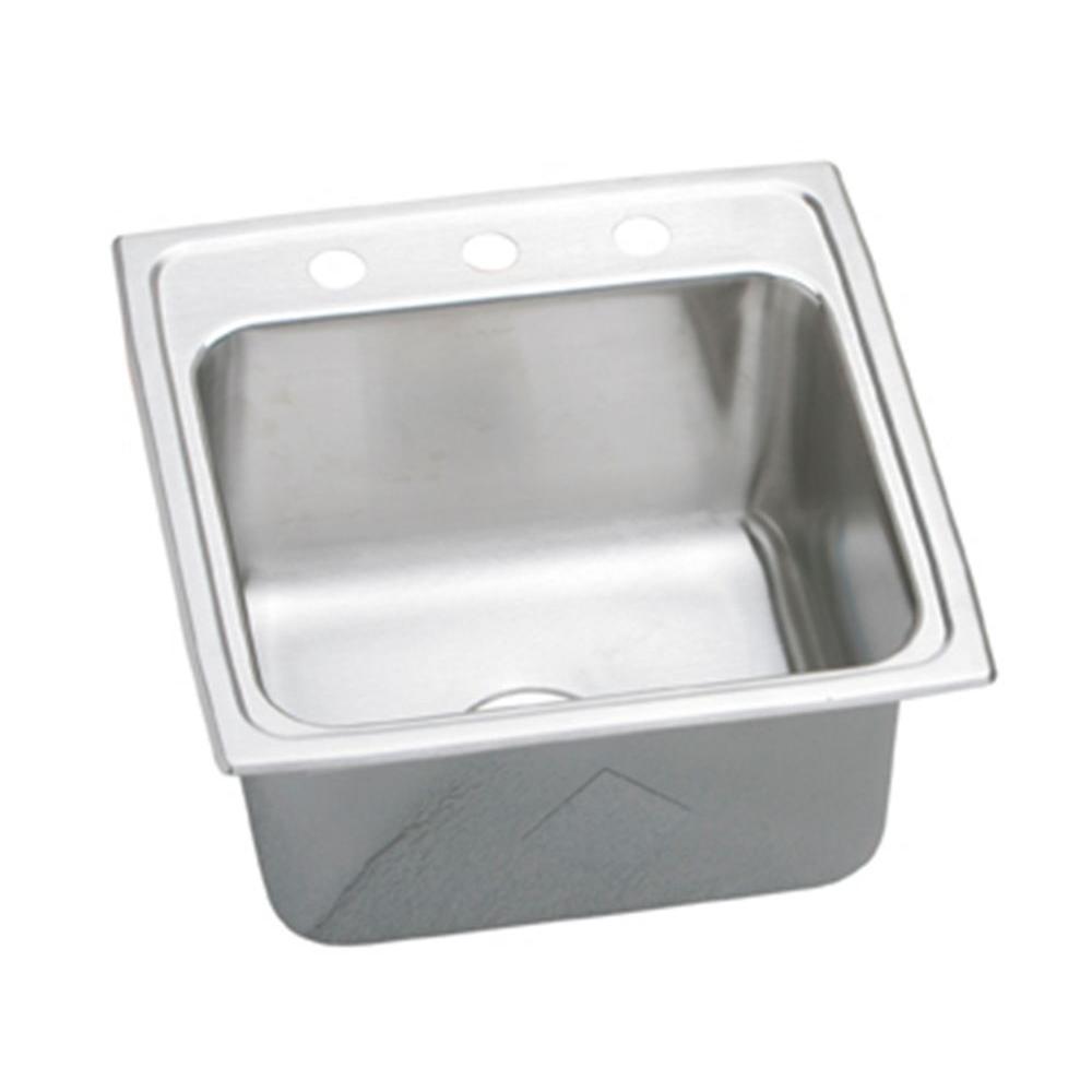 Elkay Lustertone Perfect Drain Drop-In Stainless Steel 20 in. 3-Hole Single Basin Kitchen Sink