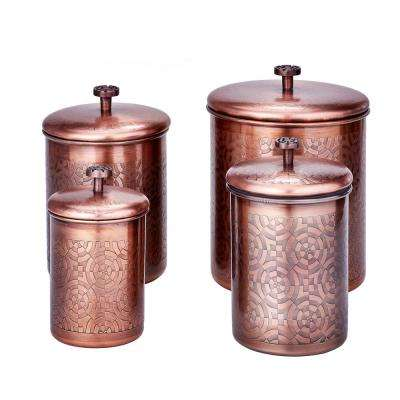 "4-Piece 4 Qt, 3 Qt. and 2 Qt. Antique Copper ""Geometric"" Canister Set"