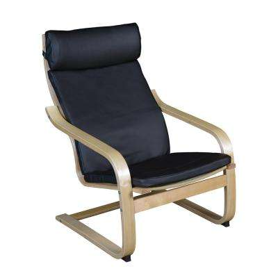 Mia Natural/Black Leather Bentwood Reclining Chair