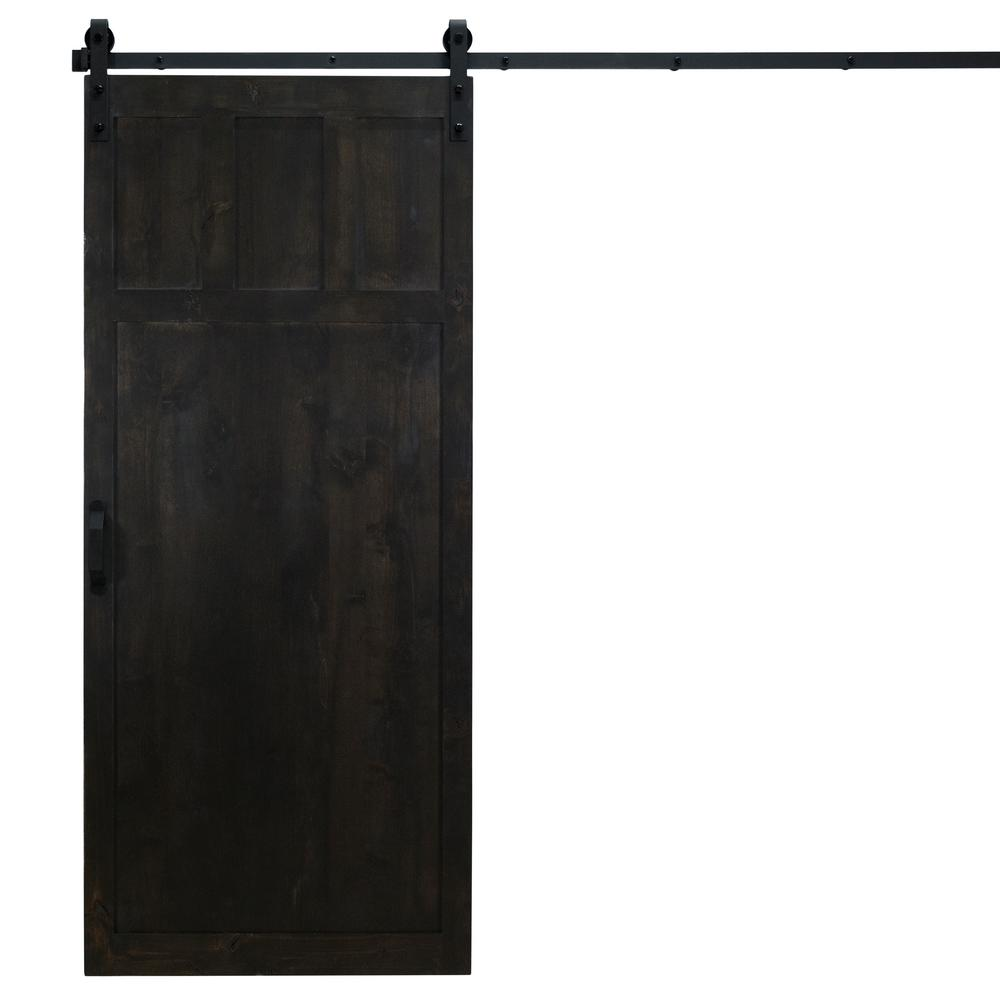 Dogberry Collections 36 in. x 84 in. Craftsman Midnight Black Alder Wood Interior Barn Door Slab with Sliding Door Hardware Kit