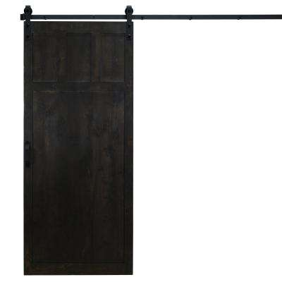 36 in. x 84 in. Craftsman Midnight Black Alder Wood Interior Barn Door Slab with Sliding Door Hardware Kit