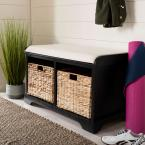 Freddy Distressed Black Storage Bench